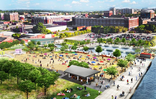 Rendering shows the planned Atwater Beach park along Detroit's east riverfront, slated to open in mid-2019.