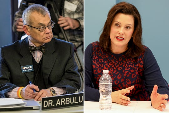 Left, Michigan Civil Rights Commissioner Agustin V. Arbulu in Detroit, Friday, Feb. 1, 2019. Right, Michigan Governor Gretchen Whitmer in Detroit on Thursday, February 14, 2019.