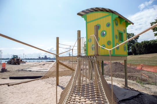 A lifeguard shack play area is photographed on the playground of the soon-to-open beach, initially called Atwater Beach, on the east Riverfront in Detroit Mich., Thursday, Aug 15, 2019.