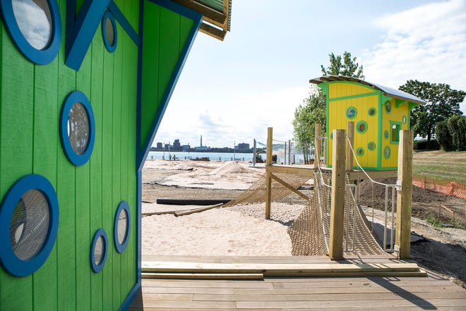 The soon-to-open Atwater Beach on the east Riverfront,  has a large sandy beach, playscape, and events shed as part of the amenities on the RiverWalk, in Detroit Mich., Thursday, Aug 15, 2019.