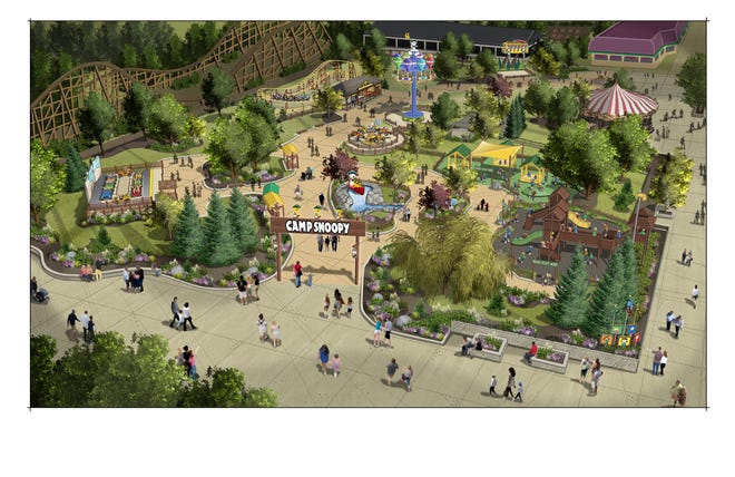 A rendering of Camp Snoopy, a children's area which is expected to open at Michigan's Adventure in Muskegon next spring.