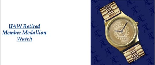 The USA Countrywide website advertises gold watches branded with various union logos, including the United Auto Workers.