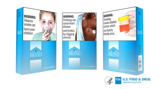 Proposed graphic warnings that would appear on cigarettes.