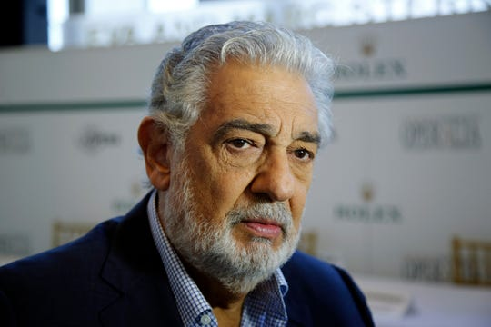 """FILE - In this Aug. 26, 2014, file photo, Placido Domingo speaks at the Dorothy Chandler Pavilion in Los Angeles. On Tuesday, Aug. 13, 2019, the LA Opera said it will hire outside counsel to investigate allegations of sexual harassment and inappropriate behavior by the opera legend. Domingo has denied the accusations, but noted: """"Still, it is painful to hear that I may have upset anyone or made them feel uncomfortable."""""""