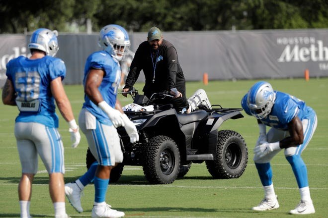 Detroit Lions head coach Matt Patricia watches players during a joint NFL training camp football practice with the Houston Texans on Thursday.
