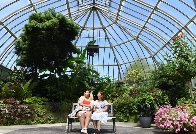 Jane Watts, left, of Southfield and her mother Christine Cho of Santa Monica, California, sit in inside the show house room Thursday afternoon observing the plants at the  Anna Scripps Whitcomb Conservatory on Belle Isle.
