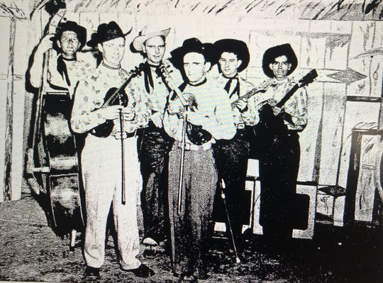 "The Dixie Six, a country band that was one of the stars of the Channel 50 program ""Hillside Hoedown,"" poses for a photo in the mid-1950s. Lead singer Curley Shelton (far right) was beaten to death in 1957. His killing was never solved."