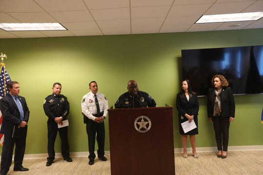 Members of federal, state and local law enforcemeent agencies spoke during a joint press conference the arrests of 120 people and the confiscation of 45 guns among other things over the last 90 days in Operation Triple Beam.