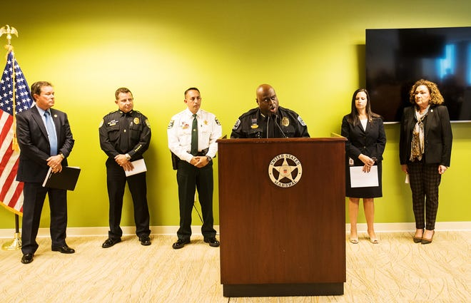 Fort Myers Police Chief Derrick Diggs speaks during a press conference at the Federal Courthouse in downtown Fort Myers on Thursday, August 15, 2019. He was speaking during a joint press conference announcing with federal, state, and local law enforcement agencies the arrests of 120 people and the confiscation of 45 guns among other things.