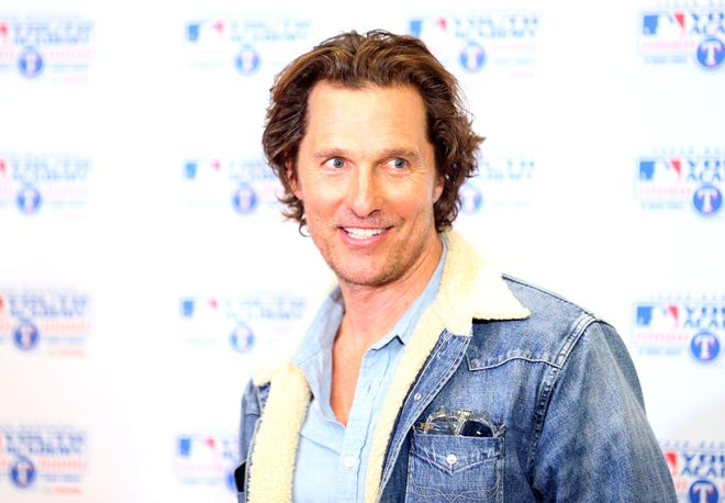 Matthew McConaughey, founder of the just keep livin Foundation, speaks to the media before visiting with high school students at Texas Rangers MLB Youth Academy in March.