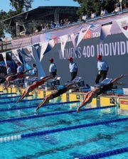 Riverside's Hannah Ownbey (middle right) competes in the 400 individual medley August 7 at the Speedo Junior Nationals in Palo Alto, California.