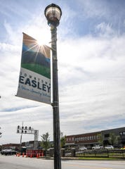 Fences along the railroad tracks through downtown Easley are being added.