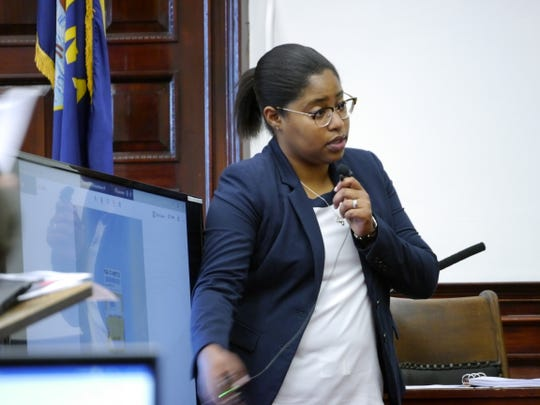 Christina Nash, a DNA analyst, testifies during the trial of Autree Aniel Pedersen Thursday, Aug. 15, 2019.