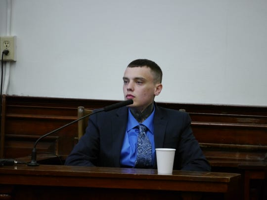 Autree Aniel Pedersen, accused of rape at a house party in 2017, testifies during his trial Thursday, Aug. 15, 2019.