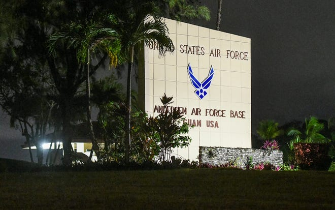 The main gate entrance of Andersen Air Force Base in Yigo as seen in this Aug. 14, 2019, file photo. A  total of 15 COVID-19 cases are associated with service members in a unit deployed to the base.
