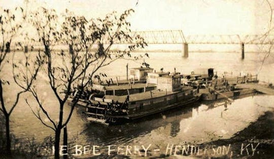 The Dixie Bee Line Ferry on the Henderson riverfront, probably in the 1920s, although it could depict the boat that burned in a spectacular fire Aug. 19, 1919. The ferry at that location was established in 1802 by Jonathan Anthony and it was discontinued May 1, 1936, at which time it was operated by the Kentucky Highway Department.