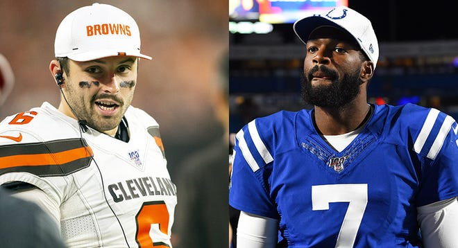 Baker Mayfield of the Cleveland Browns and Jacoby Brissett of the Indianapolis Colts.