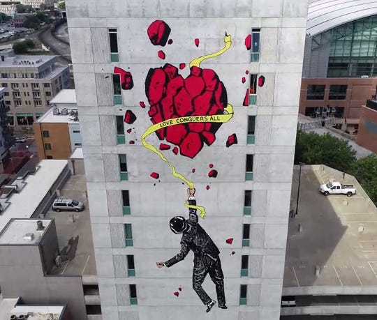 A drone image of Nick Walker's mural on CityWay Tower.