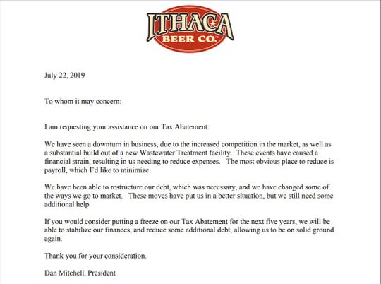 Dan Mitchell, President of Ithaca Beer Co., sent a letter requesting a freeze in the company's tax abatement schedule last month.