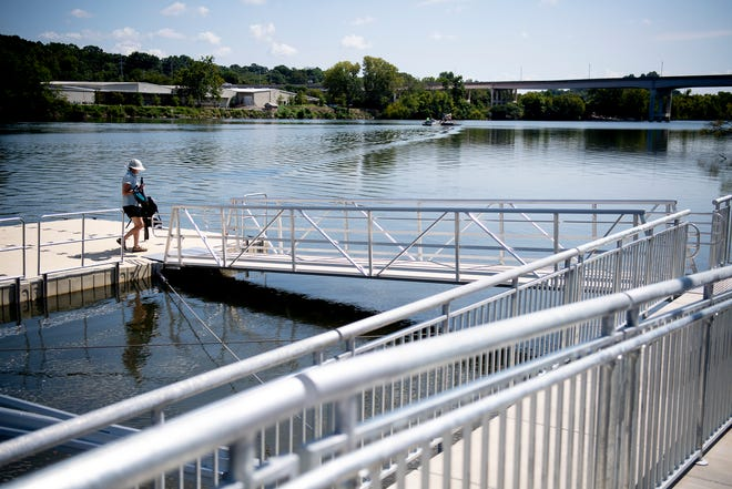 The new dock at Suttree Landing Park in South Knoxville, Tennessee on Thursday, August 15, 2019. The $2 million project includes the first City-owned ADA-accessible kayak launch system.ÊThe dock will be for non-motorized watercraft only and will be open year-round for community enjoyment.