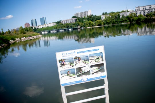 Instructions for the EZ Launch kayak launch at the new Suttree Landing Park Pavilion in South Knoxville, Tennessee on Thursday, August 15, 2019. The $2 million project includes the first city-owned ADA-accessible kayak launch system.