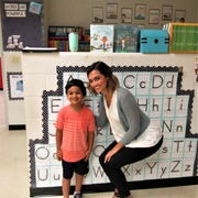 """Aayush Sen and his kindergarten teacher, Hannah Scott, hit it off right away during """"Meet the Teacher"""" day at FPS. Scott noted, """"He'll have lessons specifically tailored to help him reach his full potential."""" 8/2019"""
