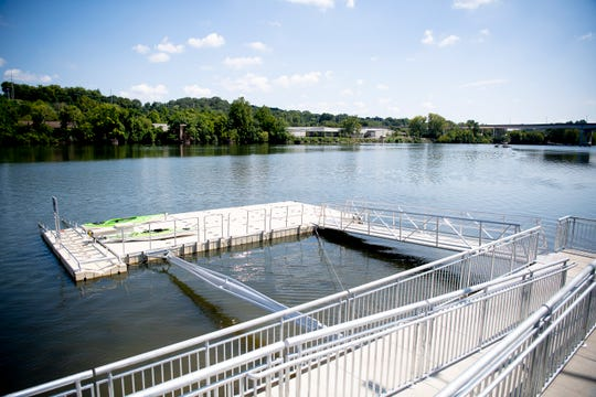 The new dock at Suttree Landing Park in South Knoxville, Tennessee on Thursday, August 15, 2019. The $2 million project includes the first city-owned ADA-accessible kayak launch system. The dock will be for non-motorized watercraft only and will be open year-round for community enjoyment.