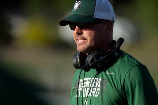 Greeneville football coach Dan Hammond in the scrimmage at Farragut on Wednesday, August 14, 2019.