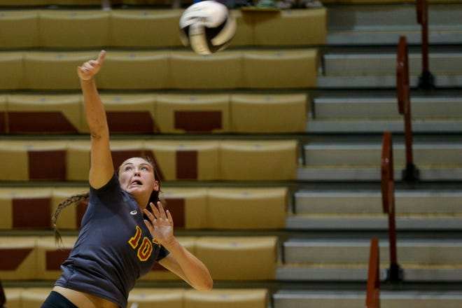 Brooke Humphrey had 12 kills against Muncie Burris in the championship match of the Plymouth Powerball tournament.