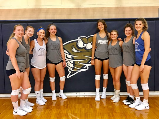 The Lancaster volleyball team has eight seniors, from left to right: Brianna Rohr, Malea Reynolds, Grace Vail, Savannah Dryden, Brittney Azbell, Kate Clark, Anna Vanderbilt and Hallie Rose.