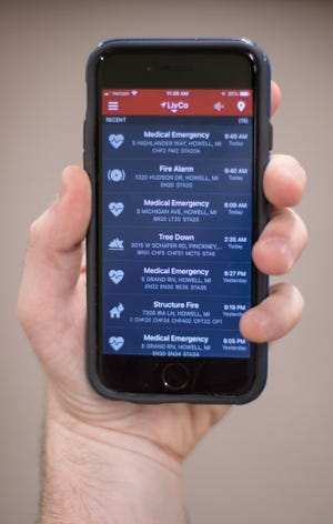 The PulsePoint app, shown Thursday, Aug. 15, 2019, facilitates the administration of CPR, as well as giving information about local fires, crashes and medical emergencies. The app is rolling out first in Livingston County.
