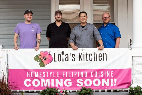 The men behind Lola's Kitchen on Frankfort Avenue include (left to right) general manager Kyle Duncan, cook David Lycan, owner and executive chef Nick Hans, and sous chef Kevin Williams. Aug. 14, 2019
