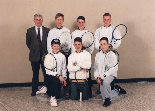 Tom Motherwell, top left, started the Haslett boys tennis program in 1969.