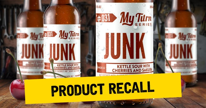 Lakefront Brewery is recalling bottles of My Turn Junk, a kettle sour with cherries, because they might explode.