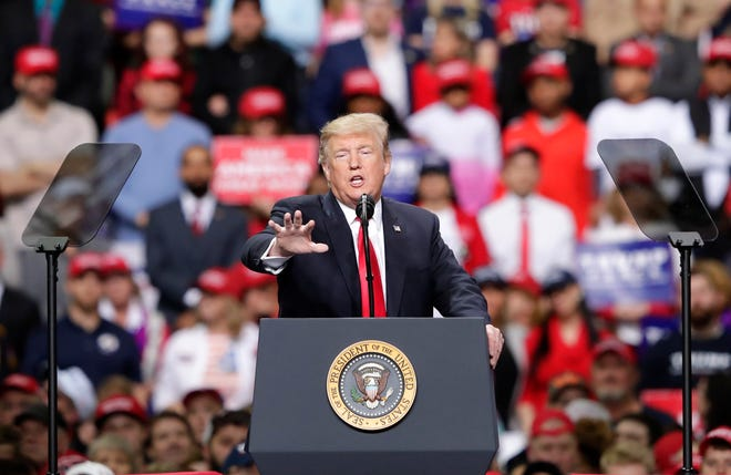 President Donald J. Trump speaks during a Make America Great Again Rally April 27, 2019, at the Resch Center in Green Bay, Wis.