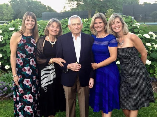 Willi Jurczyk poses with his wife and daughters in a recent photo.  Heidi Kohler (left), Mary Jurczyk, Willi Jurczyk (center), Stephanie Sutton (of WISN 12) and Julie Verburg (right).