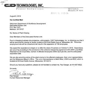 C&D Technologies is closing its Milwaukee manufacturing facility.