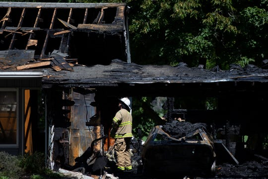 Firefighters respond to a fire on West Parkview Drive near North Eastgate Drive on Thursday, Aug. 15, in Mequon.