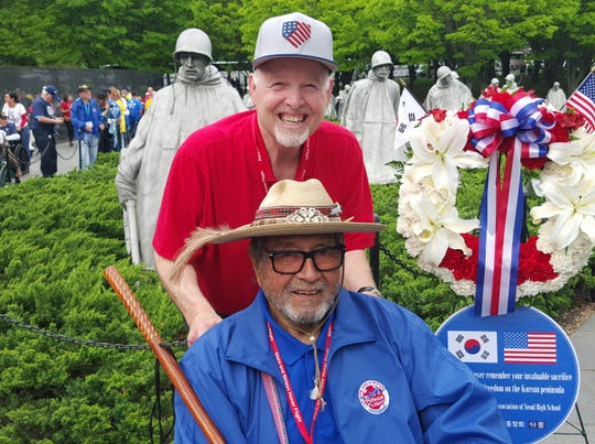 José Ortiz and Tom Haudricourt, Milwaukee Journal Sentinel Brewers beat writer, visit the Korean War Veterans Memorial in Washington, D.C. Haudricourt served as Ortiz's guardian on the Stars and Stripes Honor Flight in May 2018.