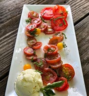 Almond Ricotta Caprese Salad is entirely plant-based.