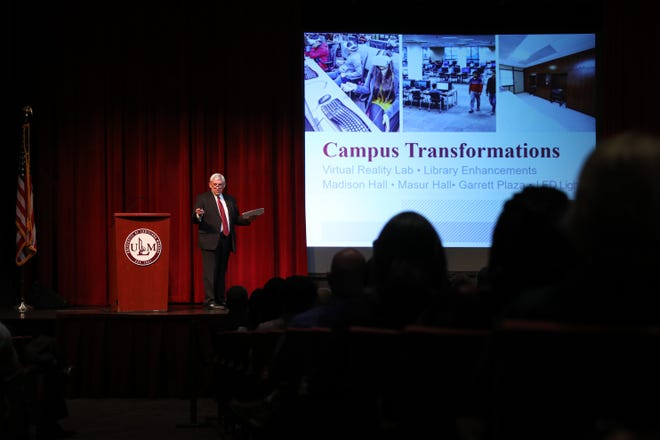 University of Louisiana Monroe President Nick J. Bruno presents the annual State of the University address Wednesday, Aug. 14 in Brown Auditorium. Accomplishments in academics, by faculty, campus facilities, and in each of the four colleges were included in the address as well as the ULM budget. Bruno thanked the legislative delegation for obtaining addition funding from the state.
