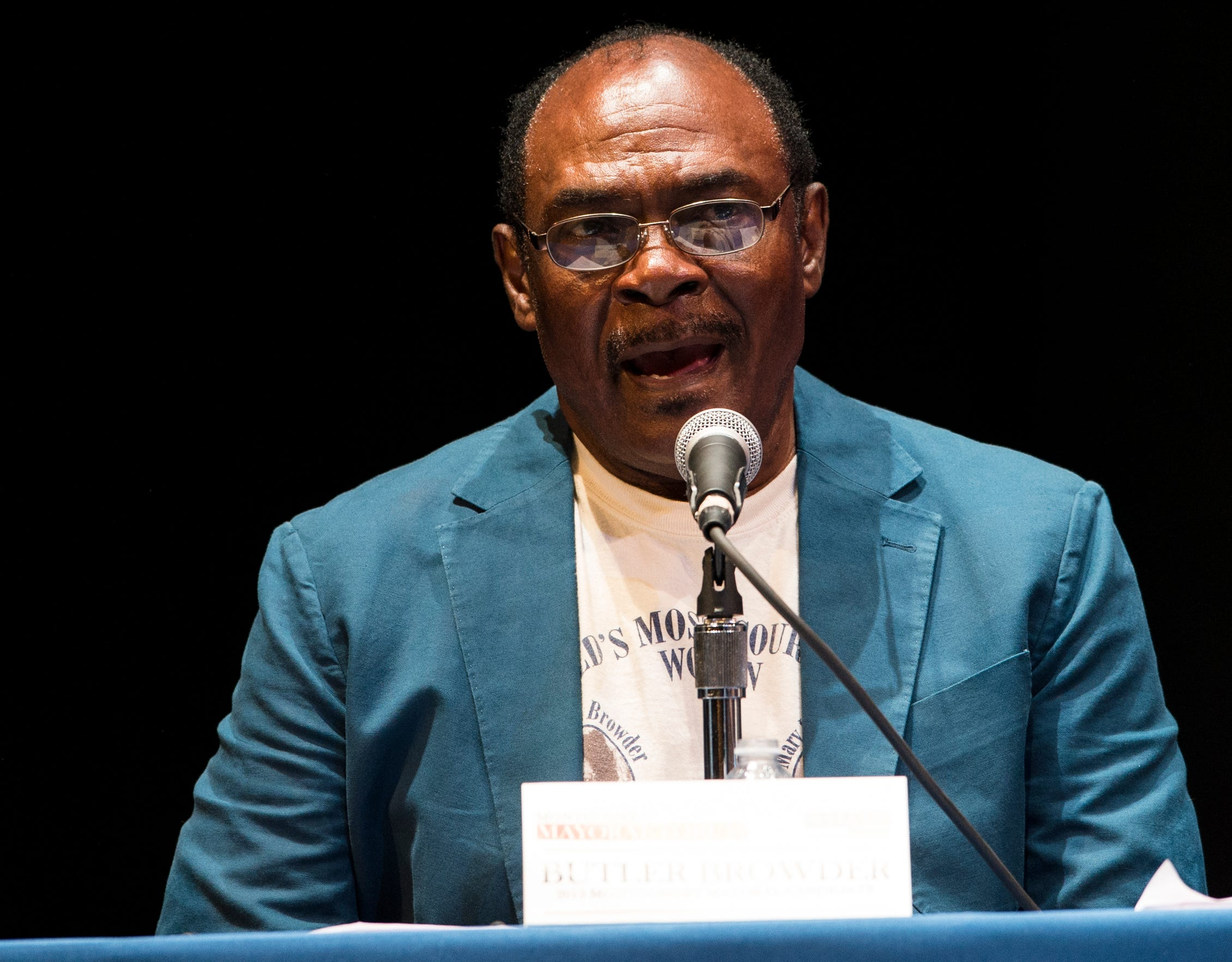 Candidate Butler Browder speaks during a Mayoral candidate forum at Davis Theatre in Montgomery, Ala., on Wednesday, Aug. 14, 2019.
