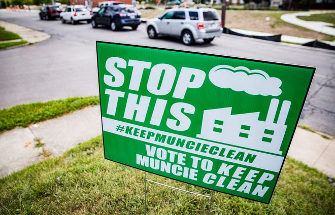 A #keepmuncieclean sign is posted outside of a home on Jackson Street in Muncie Wednesday.