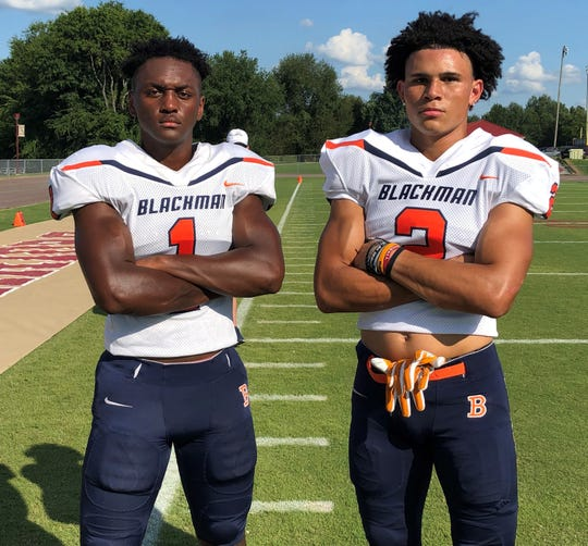 Blackman senior wide receiver transfers Keionte Newson (left) and Malachi Burns will be integral parts of the Blaze offense this season.
