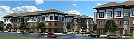 This draft rendering shows what a proposed apartment complex for 308 dwellings could resemble on South Lowry Street across from Smyrna's Depot District. A public hearing on the proposed apartment complex zoning will be held during the Town Council's next regular meeting Sept. 10.