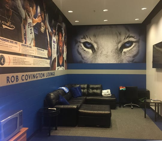 The new Robert Covington Lounge is in the entrance of the Tennessee State men's basketball lockerroom.