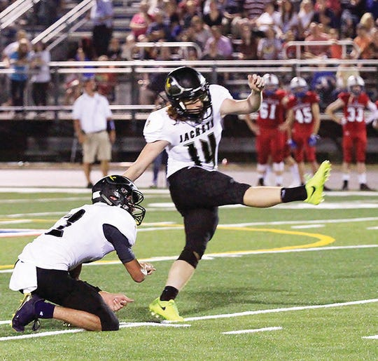 "Fairview Yellow Jackets ""kick-off"" the 2019 season with the Battle of 840 this Friday. Fairview kicker #14 Skyler Wilson in action at Battle of 840 August 17, 2018."