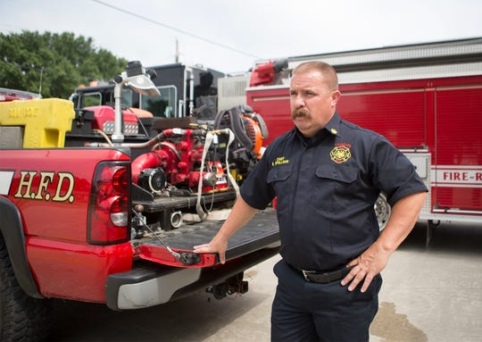 Hanover Fire Chief Brian Spellman talks to The Advocate while conducting a regular check on fire equipment.