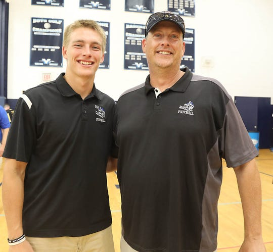 Jack Mottola a linebacker and his father and coach at Demarest Tony Mottola were among over 100 northern New Jersey high school football teams that came to the Super Conference Media Day at Wayne Valley on August 15, 2019.