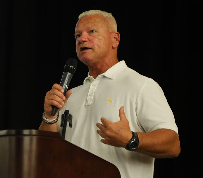 Rich Hansen the Super Football Conference President addresses the players from over 100 northern New Jersey high school football teams that came to the Super Conference Media Day at Wayne Valley on August 15, 2019.